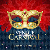 An invitation to the masquerade party for the Venice Carnival with feather venetian mask on the blue diamond shape background