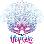 Venetian carnival mask with feathers. Concept design with hand drawn lettering for t-shirt print,  poster, greeting card, party invitation, banner or flyer.
