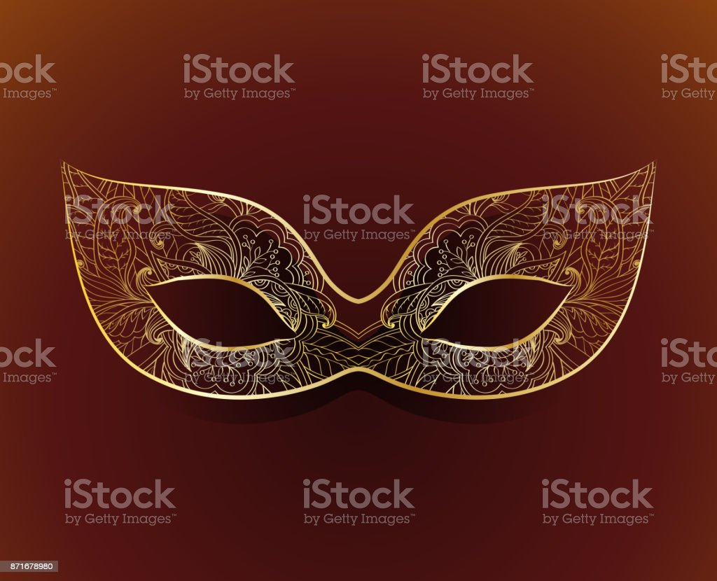 Venetian carnival mask with floral pattern vector art illustration