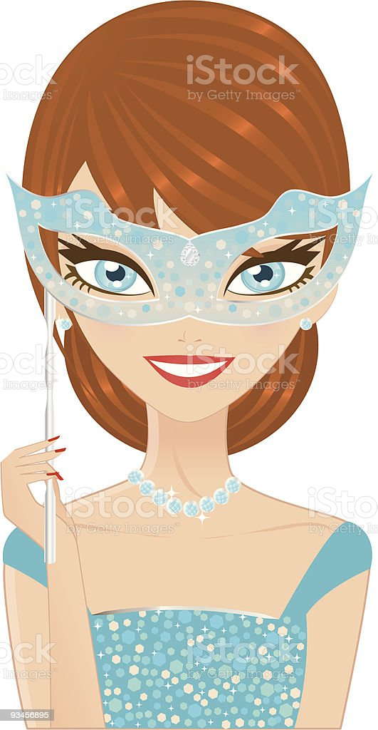 Venetian Girl vector art illustration
