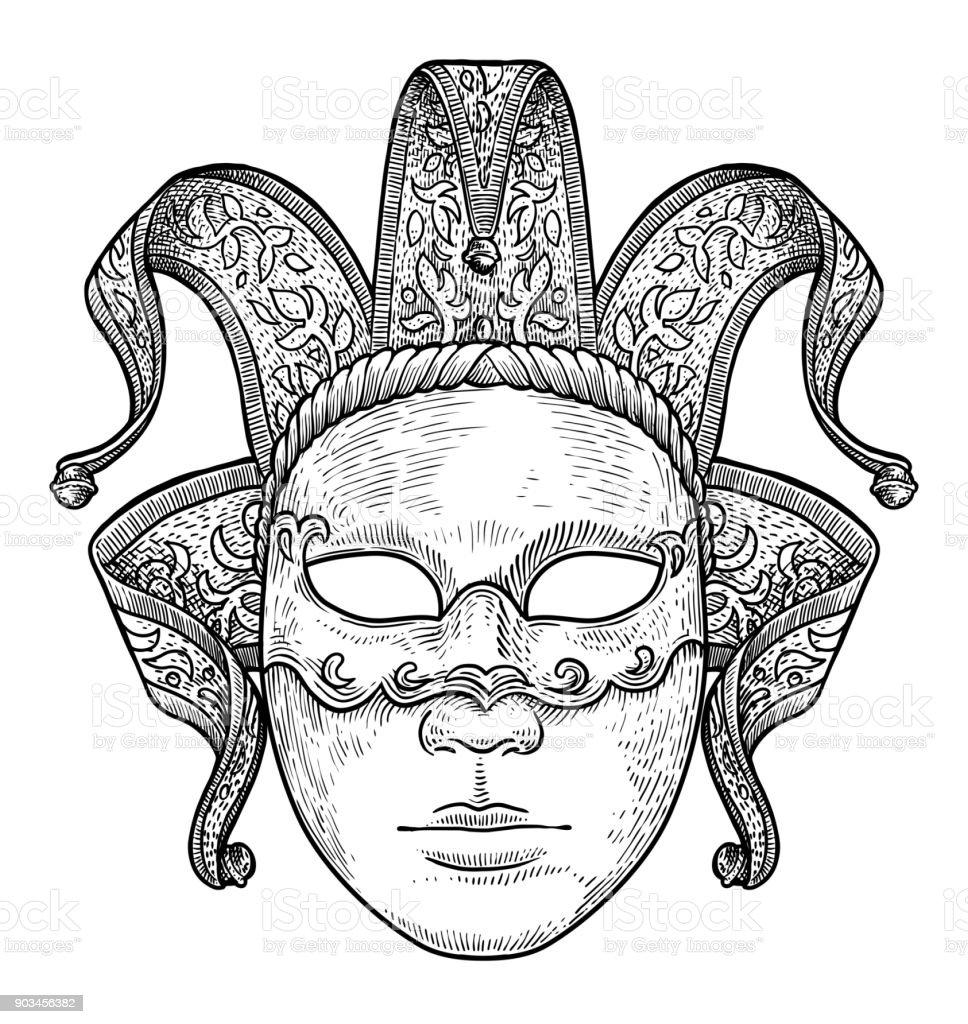 Illustration De Masque De Venise Dessin Gravure Encre Dessin Au