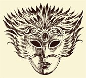 The vector drawing of a venetian mask.