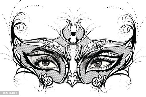 Venetian mask with floral decoration. Design elements. Concept of traditional festival or theatrical performance.