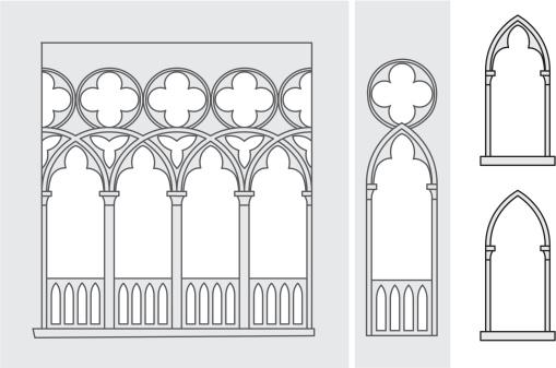 Vector illustration of Venetian windows.