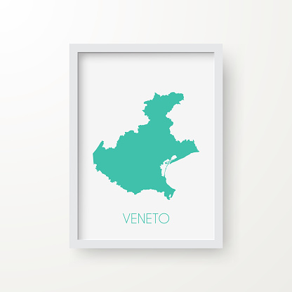 Veneto map in a frame on white background