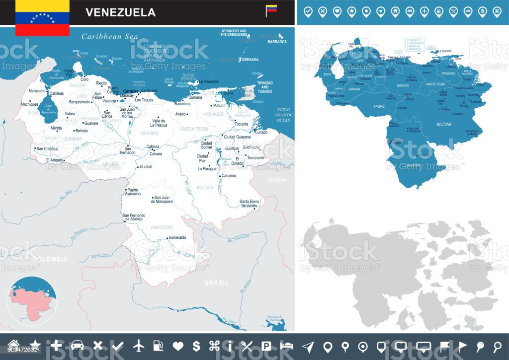 Venezuela Infographic Map Detailed Vector Illustration Stock Vector