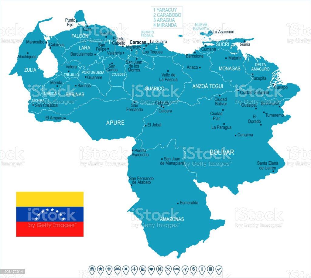 Venezuela Map And Flag Detailed Vector Illustration Stock Vector Art