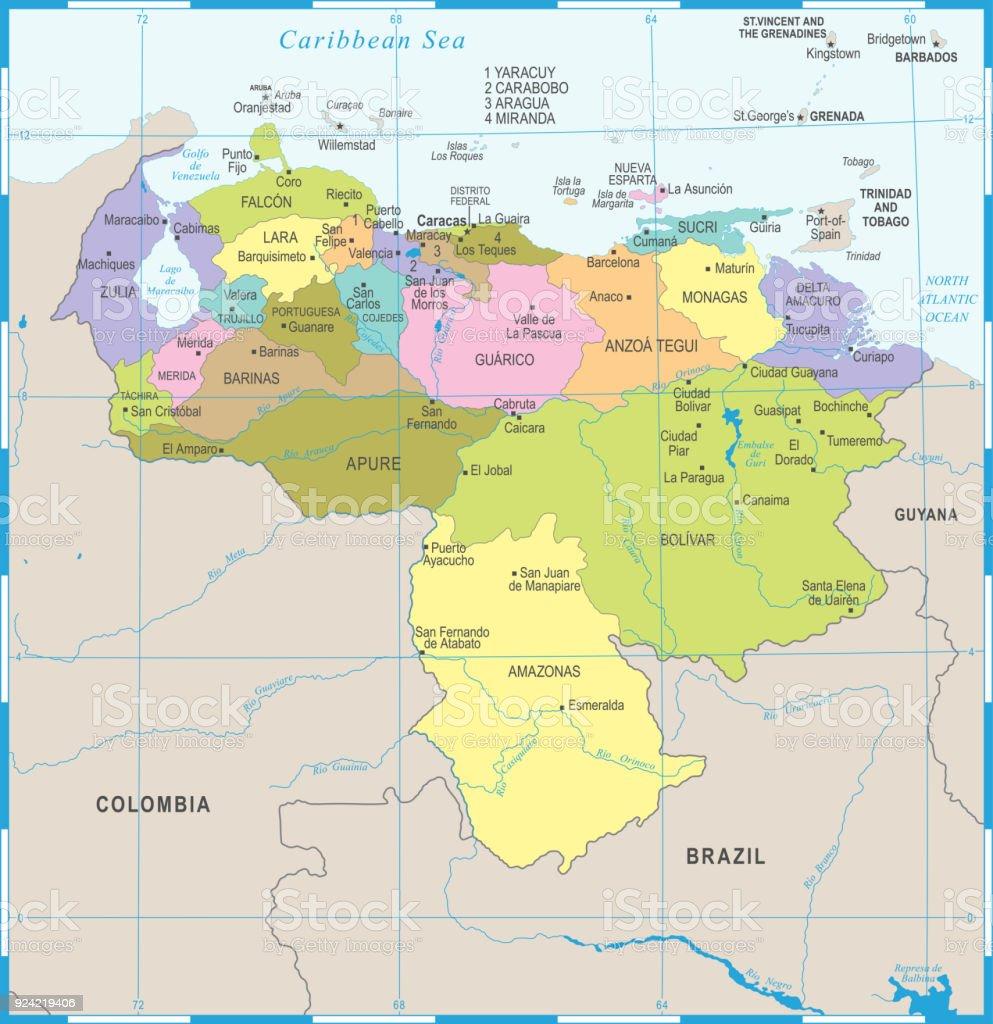 Venezuela Map Detailed Vector Illustration Stock Vector Art More