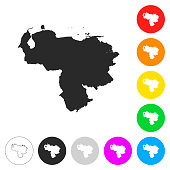 Venezuela map - Flat icons on different color buttons