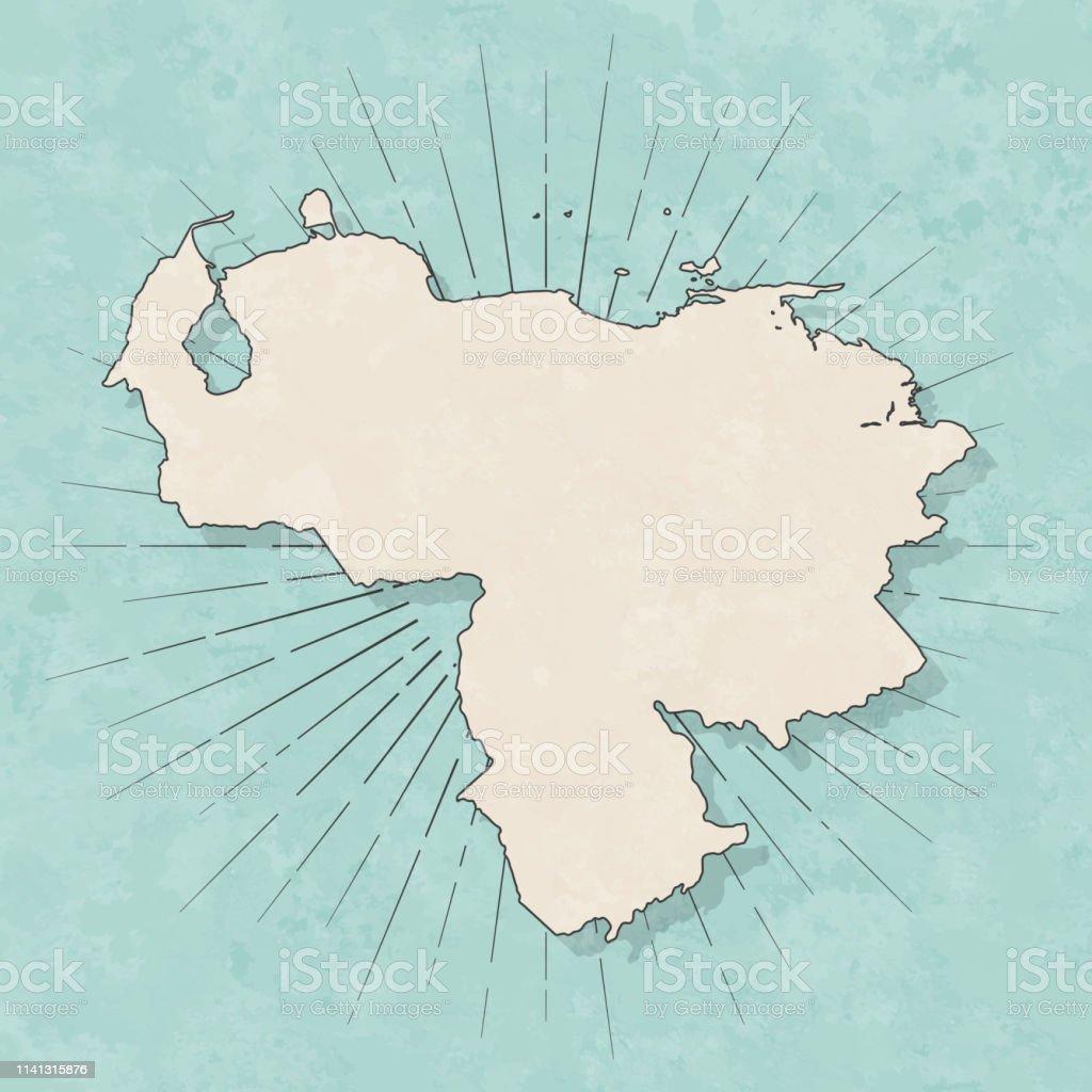 Map of Venezuela in a trendy vintage style. Beautiful retro...