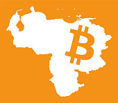Venezuela map with bitcoin crypto currency symbol illustration
