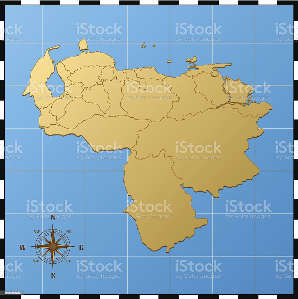 venezuela map with compass rose stock vector art & more images of