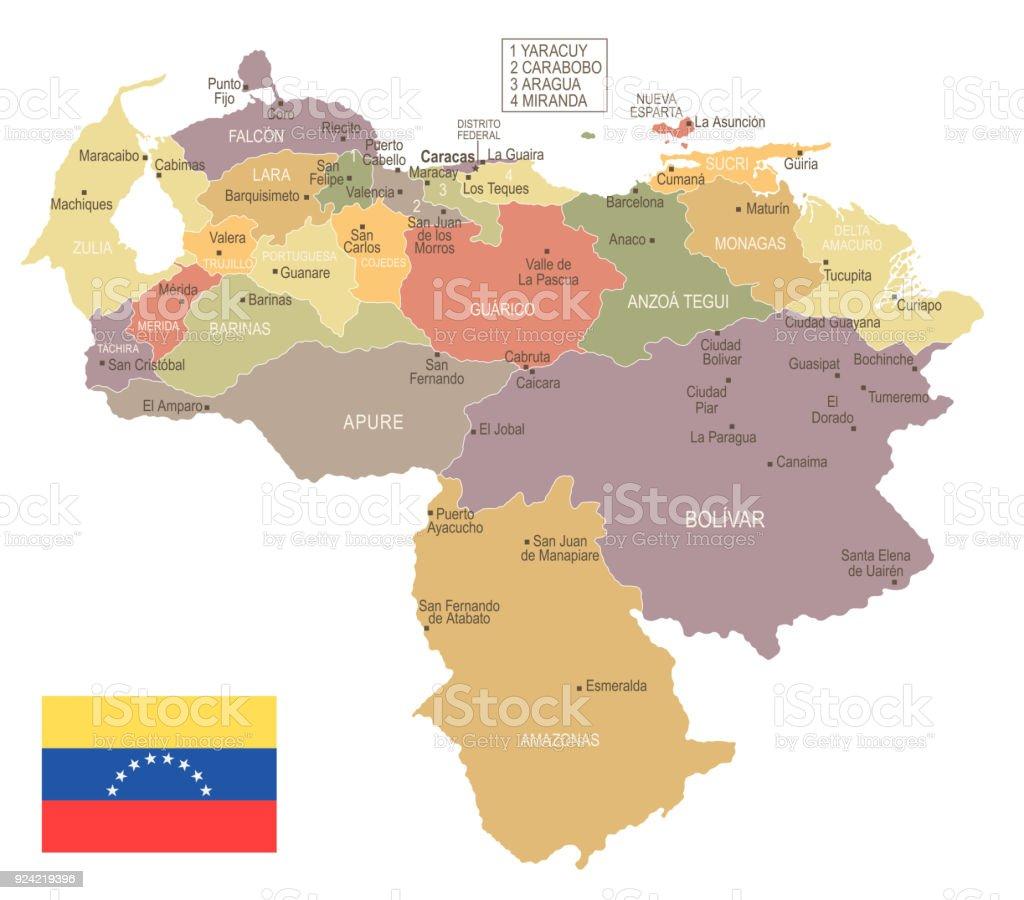 Venezuela Vintage Map And Flag Detailed Vector Illustration Stock