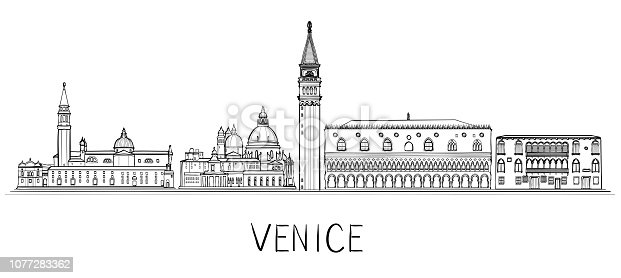 Venice architecture skyline illustration. Linear vector cityscape with famous landmarks, city sights. Vector illustration. Black and white