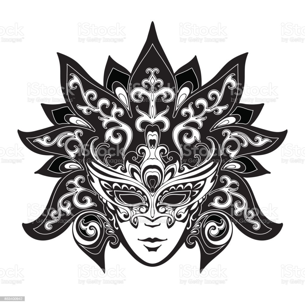 Venice Carnival masks vector art illustration