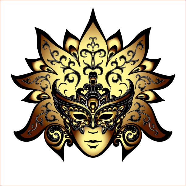 stockillustraties, clipart, cartoons en iconen met venetië carnaval maskers - festival logo baby