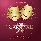 An invitation to the Venice Carnival Party with golden theater mask on the red colored background