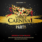 An invitation to the Venice Carnival Party with carnival mask on the black colored background