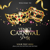 An invitation to the Venice Carnival Party with carnival masks and golden ribbon on the black colored background