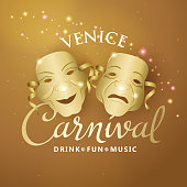 An invitation to the masquerade party for the Venice Carnival with comedy and tragedy theater masks on gold colored background