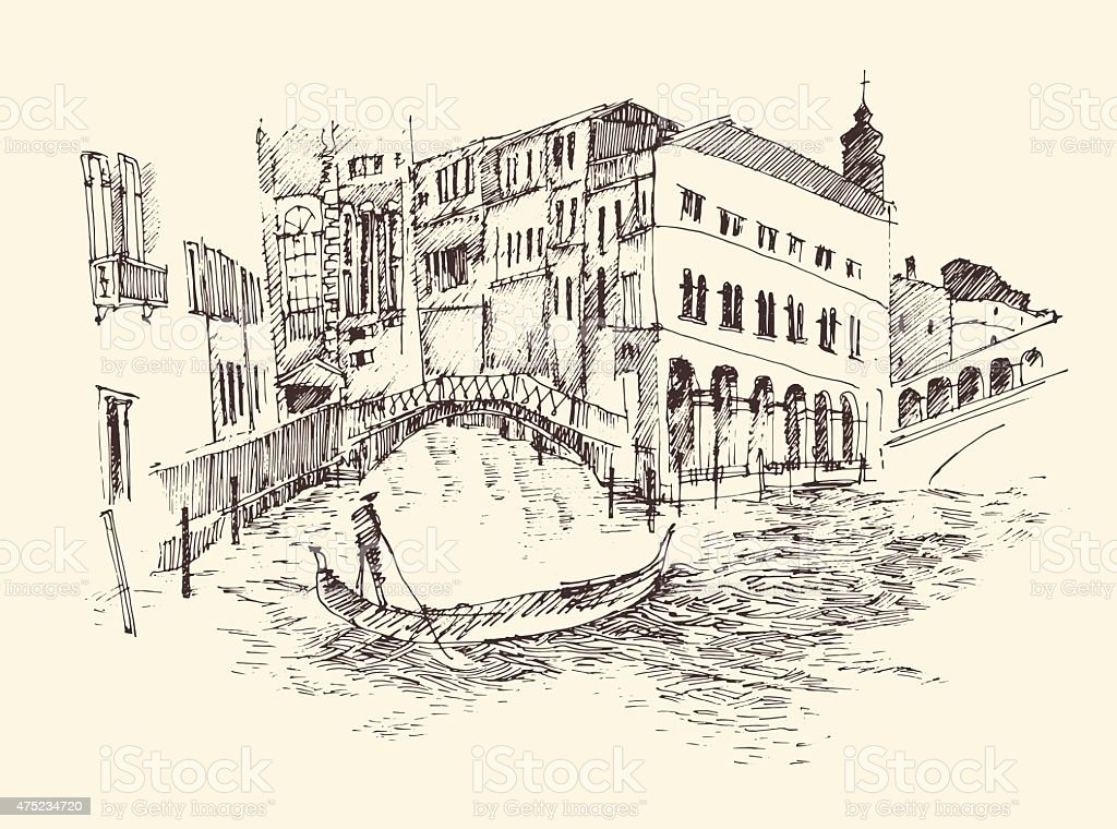 Venice city, Italy, vintage engraved illustration, hand drawn vector art illustration