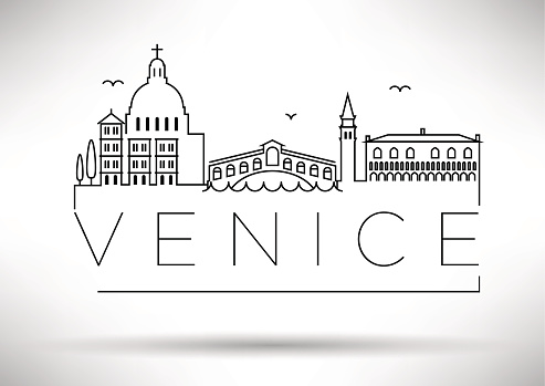 Venice City Line Silhouette Typographic Design