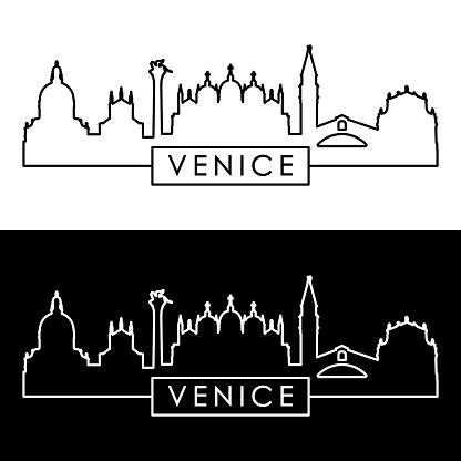 Venice city skyline. Linear style. Editable vector file.