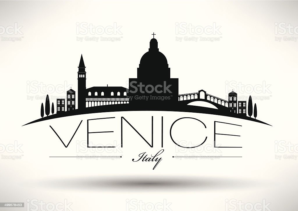 Venice City Skyline with Typographic Design vector art illustration