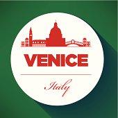 Venice City Skyline with Typographic Design