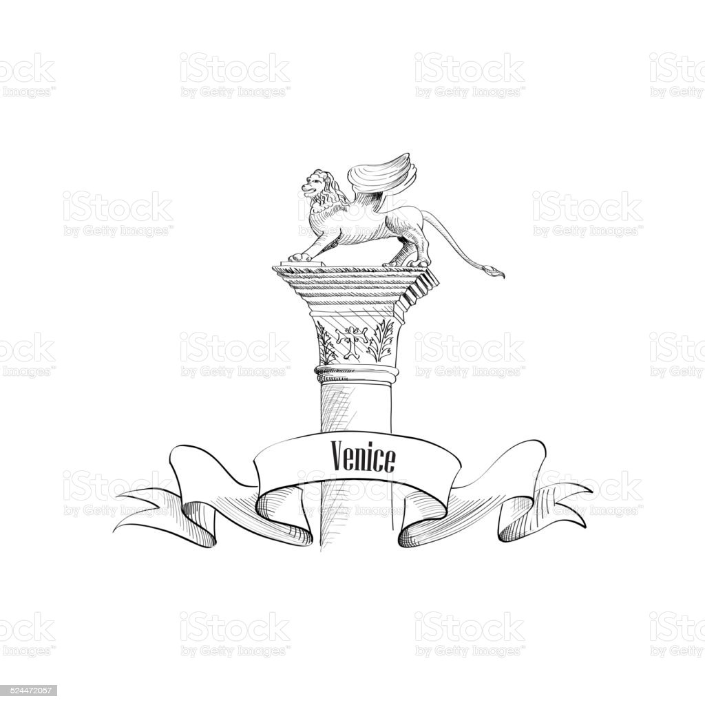 Venice City Symbol San Marco On Statuetravel Italy Set Stock Vector ...