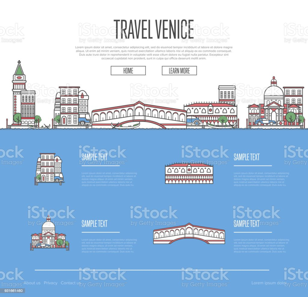 Venice city travel vacation guide vector art illustration
