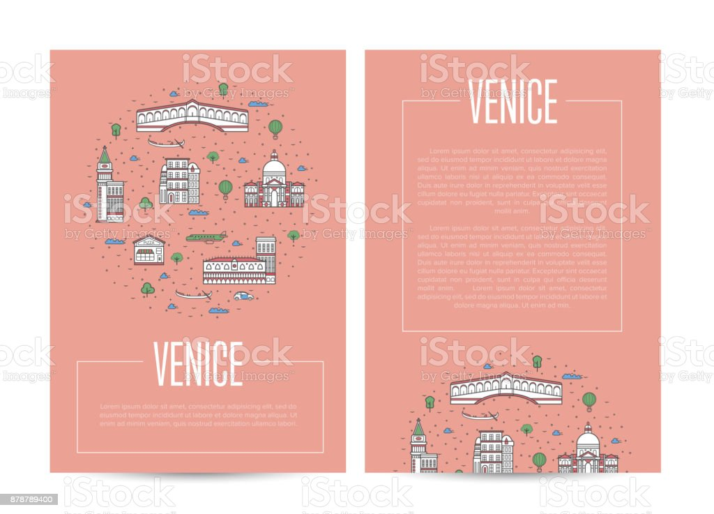 Venice city traveling advertising in linear style vector art illustration