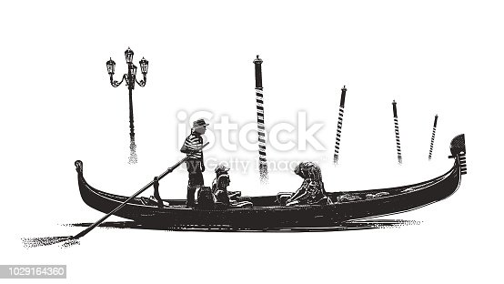 Engraving illustration of Venice gondola and mooring poles in the mist