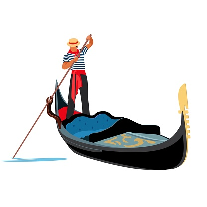 Venice gondola. Italy old boat with gondolier. Europe traveling concept. Vector illustration