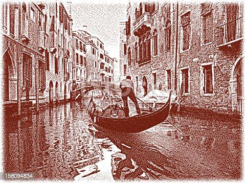 Etching illustration of gondola traveling down an enchanted Venice canal. Milan iStockalypse.