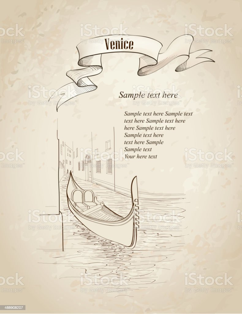 Venice, Italy background. Ancient buildings and canal with gondola. royalty-free stock vector art