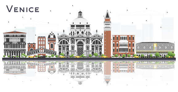 Venice Italy City Skyline with Color Buildings and Reflections Isolated on White.