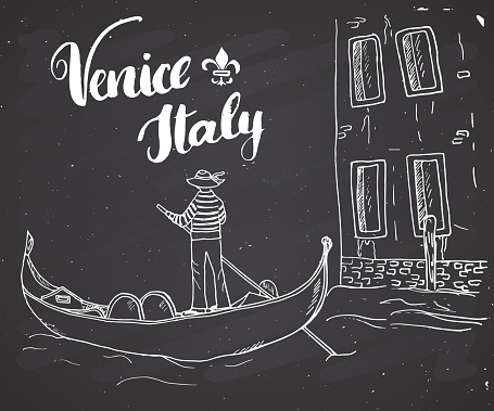 Venice Italy Hand Drawn Sketch Doodle Gondolier and lettering handwritten sign, grunge calligraphic text. Vector illustration on chalkboard background