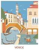 Venice Italy in sunny day. Vector illustration