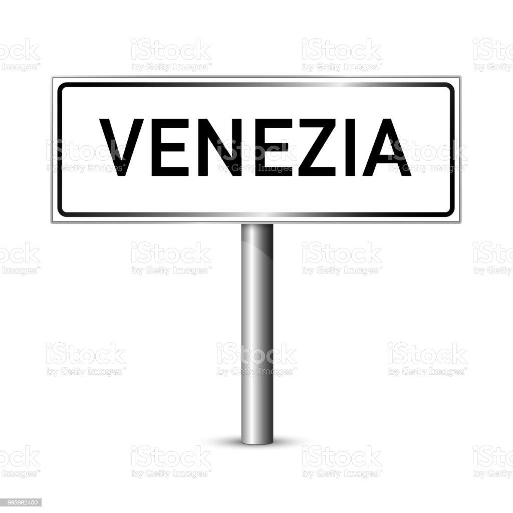 Venedig Italien Schild - Stadt Straßenschild - Beschilderung board – Vektorgrafik