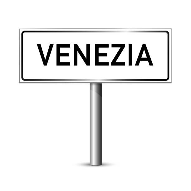 venedig italien schild - stadt straßenschild - beschilderung board - straßenschilder stock-grafiken, -clipart, -cartoons und -symbole