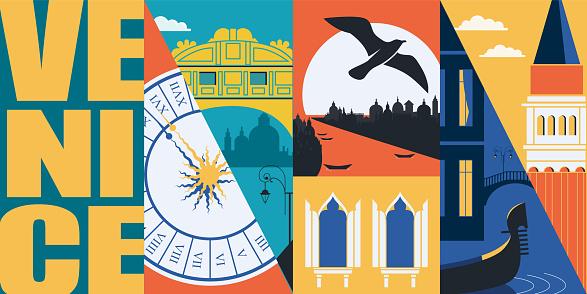 Venice, Italy vector banner, illustration