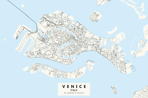 Venice, Italy Vector Map