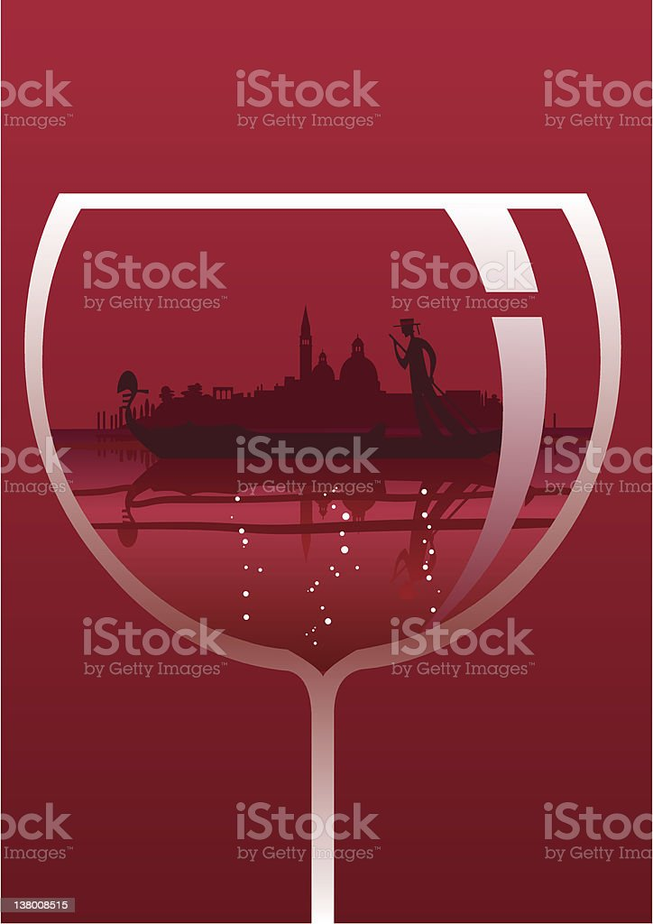 Venice lagoon and gondola into a red Wine glass royalty-free stock vector art