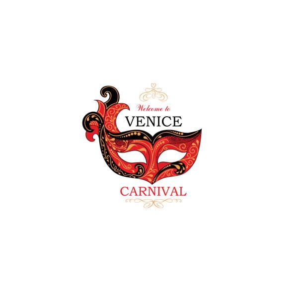 Muestra de Venecia con antifaz de fiesta de Carnaval Veneciano. Icono de la Italia de viaje. - ilustración de arte vectorial