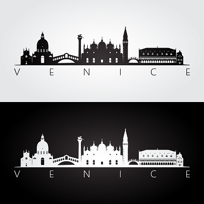 Venice skyline and landmarks silhouette, black and white design, vector illustration.