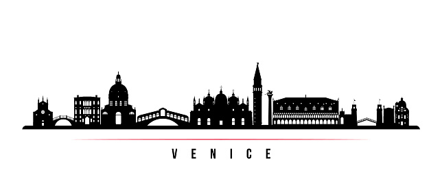 Venice skyline horizontal banner. Black and white silhouette of Venice City, Italy. Vector template for your design.