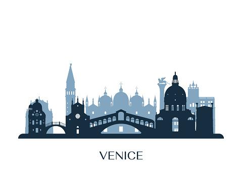 Venice skyline, monochrome silhouette. Vector illustration.