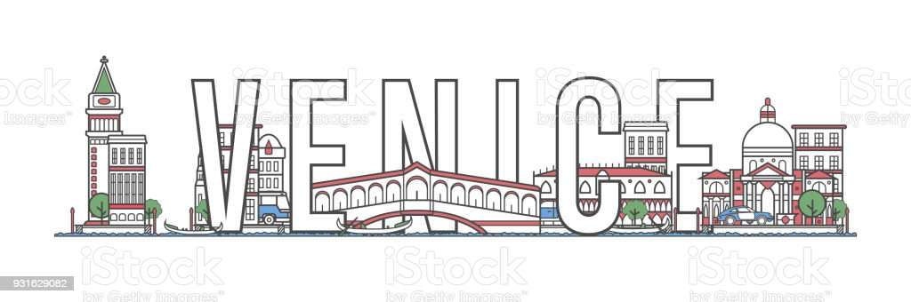Venice travel lettering in linear style vector art illustration