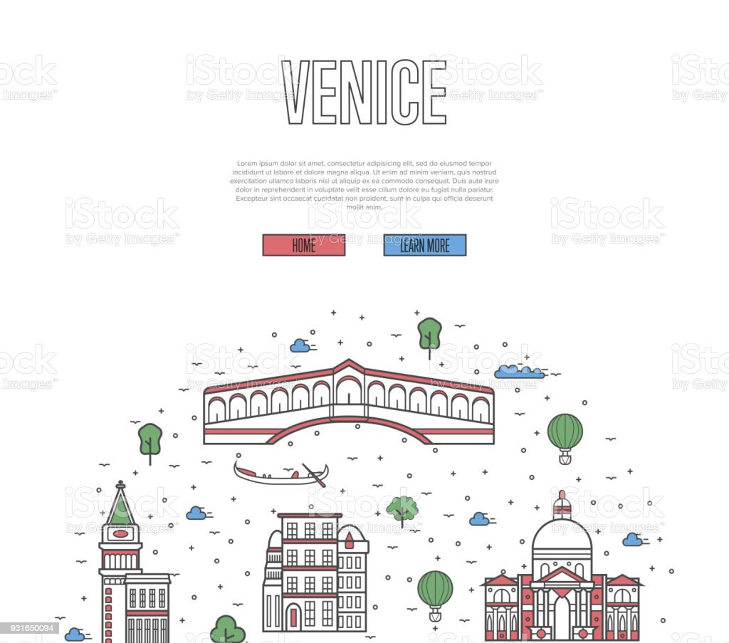 Venice travel poster in linear style vector art illustration